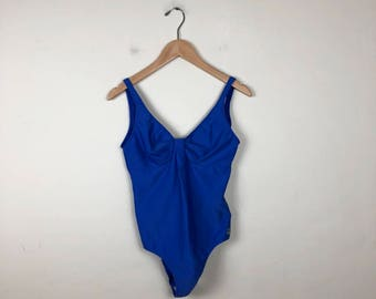 90s One Piece Swimsuit Size L, Blue Swimsuit, Vintage Swimsuit, Blue One Piece Bathing Suit