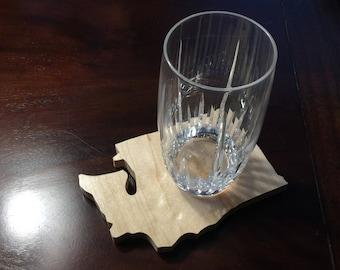 Set of 4 handmade Washington shaped drink coasters, cut from maple, drinkware, barware, State of Washington , hardwood coasters