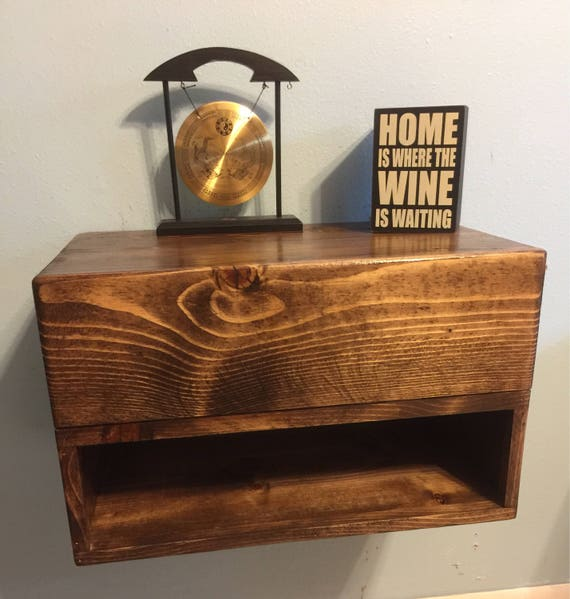 Handmade Floating Nightstand With Drawer Dimensions 20x12x11