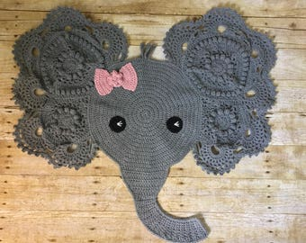 Small Crochet Elephant rug - Nursery decor, baby shower, elephant nursery, wall hanging, accent rug, elephant decor, elephant crib bedding