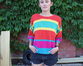 70's Lily of California Striped Light Summer Sweater