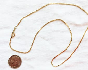 """Estate 14kt Yellow Gold S Link Chain Necklace 16"""" Long 2.8g Marked 14K Genuine Solid 14 k kt Vintage 1.5 mm wide Statement Links Chains"""