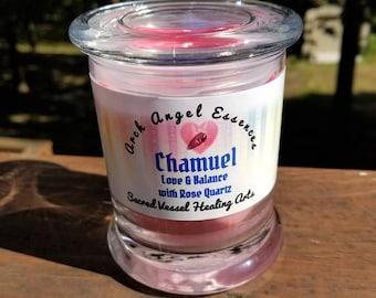 Archangel CHAMUEL EcoSoy Candle w/Rose Quartz Gemstone Chips