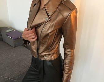 Women Leather Biker Jacket in Metallic Bronze - Small