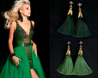 Tassel Earrings Green earrings Long Earrings Green Tassels Earrings Statement Earrings Tassel Jewelry Fringe Earrings Everyday Earrings