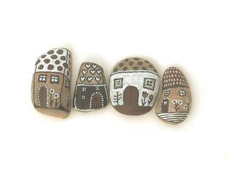 Painted pebbles, pebble art, hand painted rocks, painted stones - houses, village, painted rocks