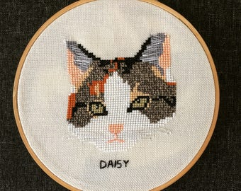 Custom Embroidered Cat Portrait