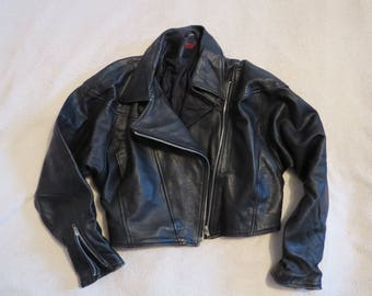 Genuine Leather Vintage SNOB 80's Black Biker Jacket Cropped Retro Bat Winged Zipped Coat Made In England Size M UK 12