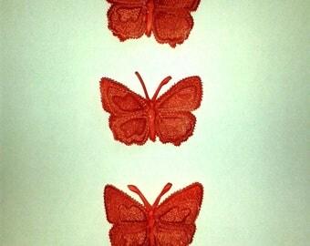 set of 3 butterflies 3d pergamano parchment color red