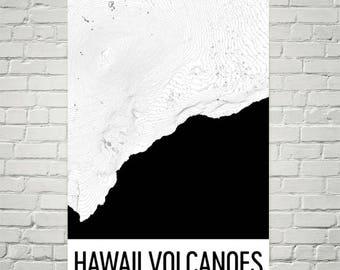 Hawaii Volcanoes National Park Print, Hawaii Volcanoes Hawaii Poster, Big Island Art, Big Island Print, Topographic Map, National Park Art