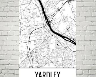 Yardley Map, Yardley Art, Yardley Print, Yardley PA Poster, Yardley Wall Art, Gifts, Map of Pennsylvania, Pennsylvania Poster, Yardley Decor