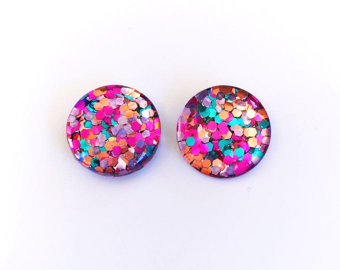 The 'Mixed Berry' Glass Glitter Earring Studs