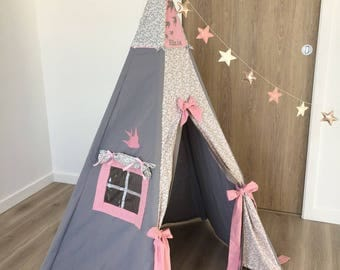 Kids teepee tent swallow personalized custom pink and gray, Indian, cabin, kids play area