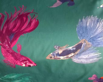 FABRIC 100% cotton printed fish background turquoise width 140cm