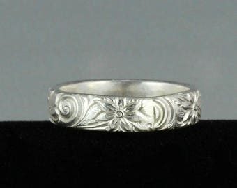 Handmade Patterned Silver Ring