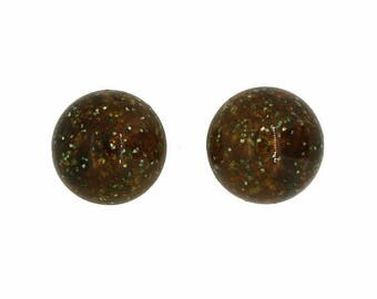 1940s Brown Confetti Lucite Vintage Earrings
