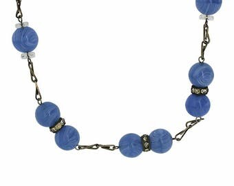 1930s Blue Glass Bead and Rhinestone Vintage Necklace