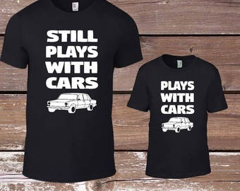 Plays with Cars  t-shirts,Fathers Day Gift Matching , Dad Matching T Shirts, Father Son Set, Mechanic Dad, Auto, Daddy Matching, Daughter