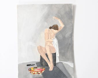 Girl with bowl and Brush / Figure Painting / Original Watercolor / Gouache /  Naked Lady Art / Nude Drawing