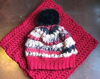 Handmade blessed crochet beanie scarf set