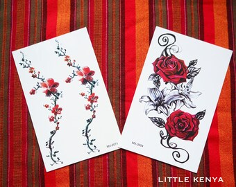 Temporary Tattoos - Flower Rose Tattoos - Body tattoos - Tribal Tattoos - Body Jewellery Jewelry - African - Festival Party tattoos