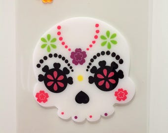 Sugar Skull Gel Clings Day of the Dead Gel Window Sticker Decor Decoration Dia de los Muertos Halloween Gel Clings Set of 3 Sugar Skulls