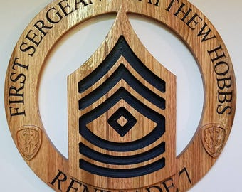 Customizable US Army Enlisted plaque (E-1 - E-9)