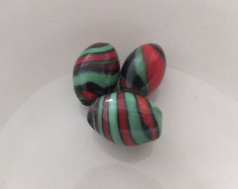 3 pc Lampwork Beads approx 18x12mm