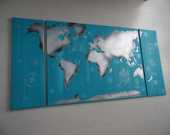 Acrylic painting triptych map world