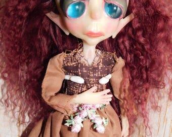 Sheera, ooak, ooak doll, one of a kind doll, gothic doll, gothic art doll, gothic home decor, posable doll, handmade doll