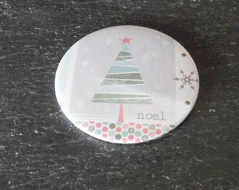 Handbag/Pocket Mirror Christmas Tree Noel design, Stocking filler