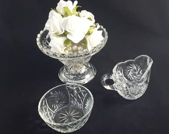 Early American Pressed Glass Creamer and Sugar Bowl, Star and Swirl Pattern, Indiana Glass, EAPG ~ Vintage 1930's-40's