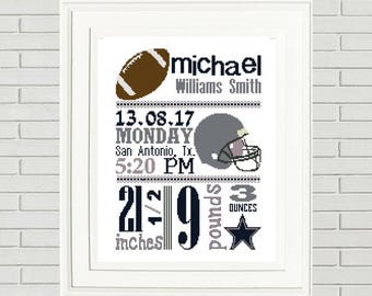 Football Birth announcement/Pattern Cross Stitch/Birth Announcement Cross Stitch/Dallas Cowboys Baby/NFL baby/Cowboys Baby/
