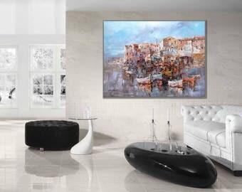 "Fishing Boat Painting 36x48""/90x120cm Impressionist Boat wall Art Harbor decor wall art oil painting"