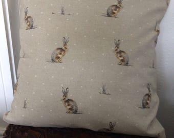 Hartley hare beige and white cotton cushion cover