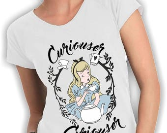 Women's V neck t shirt curiouser