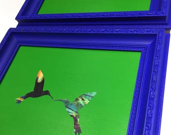 Upcycled frames in Ultramarine blue & Chromakey green with decoupaged hummingbirds (set of two)