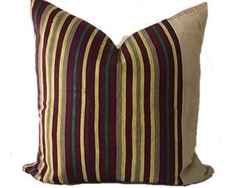 Orun - Beige Multicolour Striped Vintage African Cloth Aso-Oke Pillow, High Quality Italian Linen Back Fabric, Mud Cloth Style