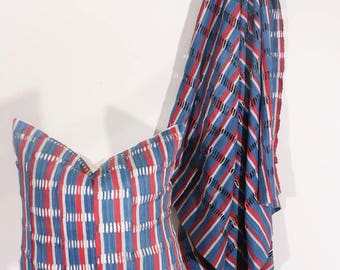 ASE - Rare Indigo Striped Vintage African Cloth Aso-Oke Pillow, High Quality Italian Linen Back Fabric, Mud Cloth Style