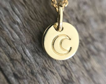 Medal Moon necklace / Moon necklace / Moon necklace gold