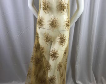 Lace Fabric - Gold Gaviota Design Embroider Beaded Mesh Dress Wedding Decoration Bridal Veil Nightgown By The Yard