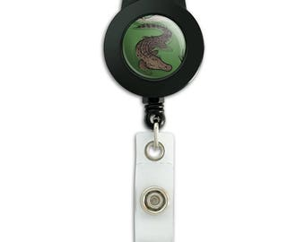 Crocodile in swamp lanyard retractable reel badge id card holder