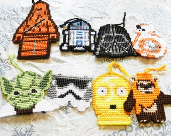 star wars christmas decorations/star wars magnets/plastic canvas magnets/handmade star wars magnets/handmade star wars ornaments