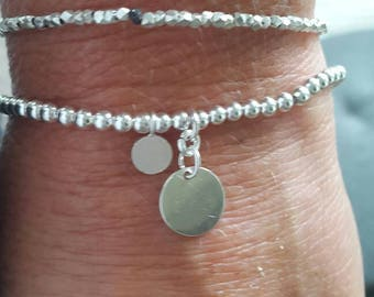Ball bracelet Sterling Silver 3 mm with trailers