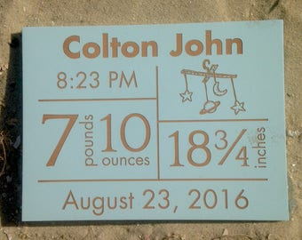 Baby Boy Birth Announcement, Personalized Baby Announcement Plaque, Laser Engraved Baby Gift