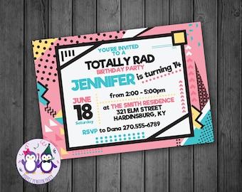 Totally Rad Birthday Party Invitation