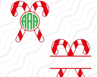 Candy Cane SVG,Candy Christmas svg, Christmas Monogram SVG Cut table Design,svg,dxf,png Use With Silhouette Studio & Cricut_Instant Download