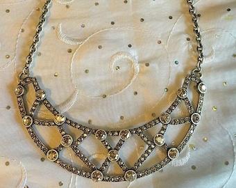 ON SALE Touchstone Swarovski Crystal Victoria Necklace Silver *NEW* # 3968Nf Stunning!