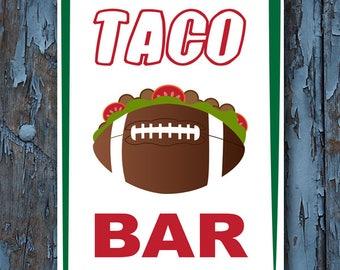 football, football party, taco bar, Football Party decor, Football Birthday, taco bar sign, Touchdown n tacos, tacos, printable,
