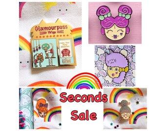 Seconds sale crazy cat ladies enamel pins
